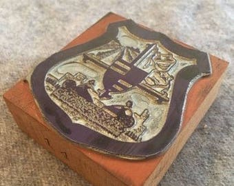 VINTAGE Wood Letterpress Printers Block Theater Laughing Crying Mask Shield Seal