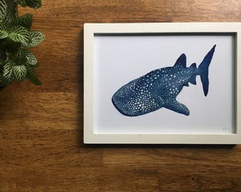 "Whale Shark Watercolor Print 5"" x 7"""