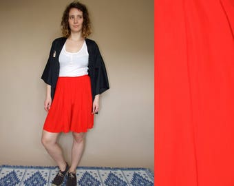 80's vintage women's red high waisted minimal chic shorts-skirt