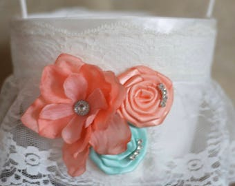 coral Peach and mint Ring Bearer Pillow, shown in white