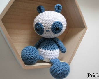 Cuddly Panda Amigurumi crochet blue and white