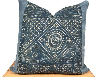 Vintage Chinese Batik Pillow - Light Faded Indigo - 20 Inch