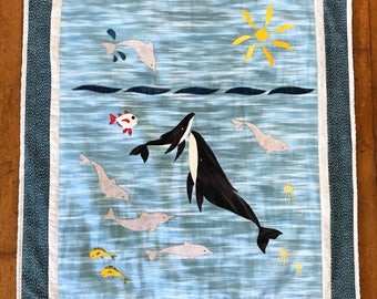 First Breath Baby Quilt- Hawaiian Island Ocean Scene- Handmade in Hawaii- made to Order