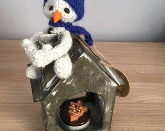 Snow blue snowman Christmas candle