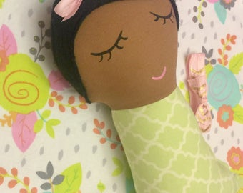 Swaddle baby doll, rag doll, doll, dolls, cloth doll, handmade doll, green, pink, floral, brown hair, African american doll, gift for girl