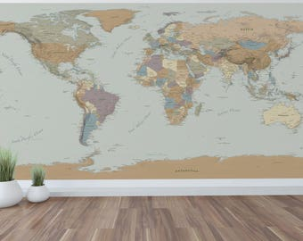 Giant mural map etsy giant world map mural wall art world map decal 96x48 with mountains sciox Gallery