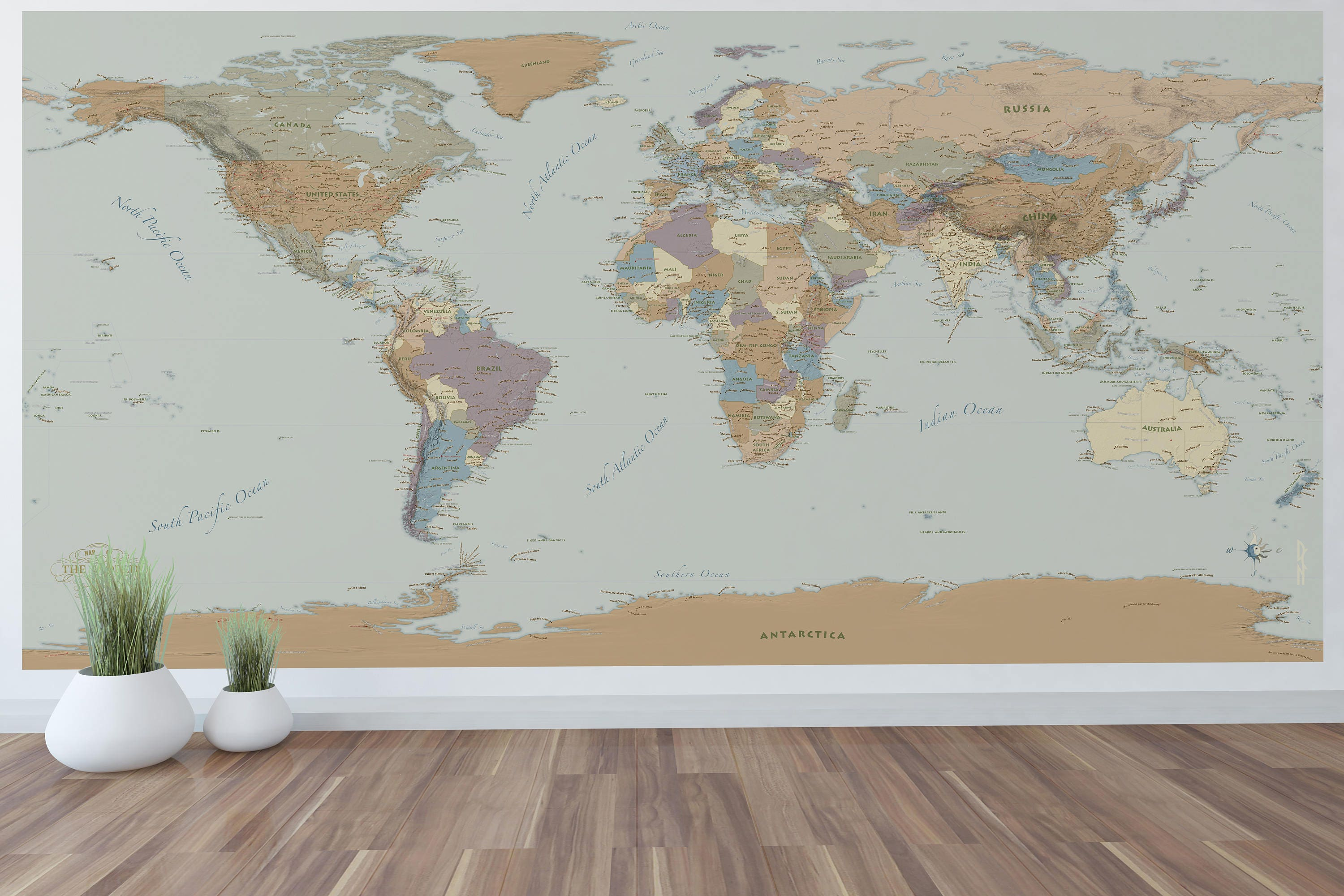 Giant world map mural wall art world map decal zoom sciox Gallery