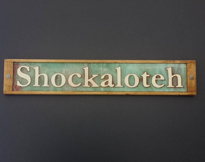 "House Sign Name sign Traditional in Oak and Copper, 2""/50mm  high numbers in Garamond font, shipped worldwide g"