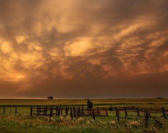 Stormy Sky Photography Print - Fine Art Picture of Mammatus Clouds Over Ranch Fence in Southern Oklahoma After Storms Landscape Home Decor