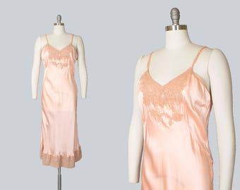 Vintage 1940s Slip   40s Rayon Satin Lace Peach Full Slip Dress Nightie (small/medium)