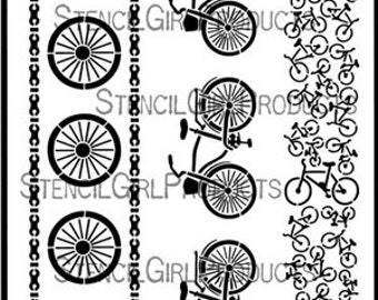 Stencil Girl Products Stencil 9x12,  Bicycle Borders