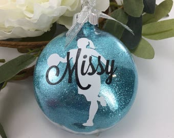 Basketball Girl Glitter Ornament, Personalized glitter ornaments, basketball gift, gifts for basketbal players, sports gift, monogrammed