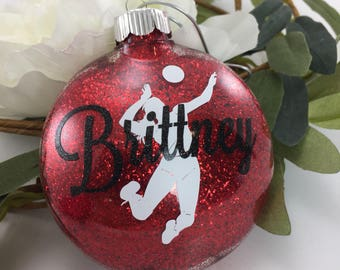 Volleyball Girl Spiking Ball Glitter Ornament, Personalized glitter ornaments, volleyball gift, gifts for volleyball players, sports gift