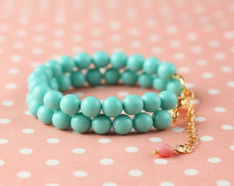 "Bracelets ""Source of happiness"" glass beads Aqua"