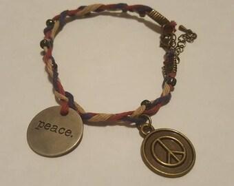 Hand Braided Adjustable Peace Bracelet