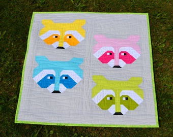 """Rainbow Raccoon 26"""" mini Quilt for Sale, modern patchwork, Wall Hanging or Table Decor, nursery girl or boy room wall art quilt"""