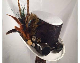 STEAMPUNK TOP HATS, Steampunk Shop,Steampunk Wedding, White, Felt, Goggles, Clock Parts