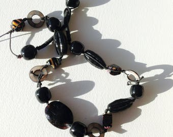 Necklace - long black and multi colour glass bead necklace