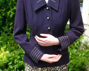 SALE: Vintage 1950's Navy Blue Jacket Bobby Jean Label, Chicago, Mid-Century  Charming White Stitched Trim and Button Excellent Cond.