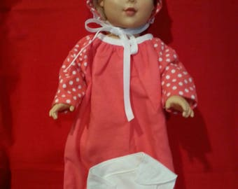Flannel Doll Nightgown bonnet and diaper