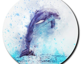 Watercolor Leaping Dolphin Sandstone Coaster