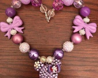 Minnie Mouse Head Bubble Gum Necklace  in Purple/Lavendar/Opaque (Child/Toddler)