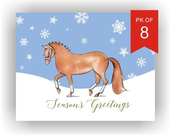 Christmas Cards Set of 8 | Hand Illustrated Horse Holiday Card Set with snowflakes/Equine  Christmas Cards/passage