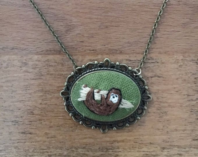 Sloth  - hand embroidered necklace, rainforest, tropical animals
