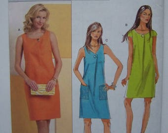 UNCUT 2009 Butterick B5347 Fast & Easy One-Piece SHIFT DRESS Pattern sz 8-10-12-14