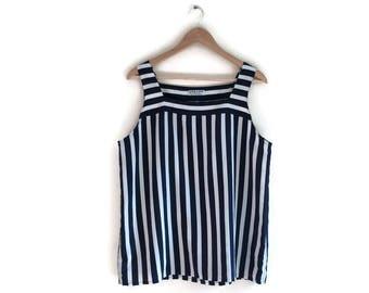 Vintage blue white striped vest top / 80s Jeager striped tee / large striped top / minimalist vintage / 80s work top / breton striped tee