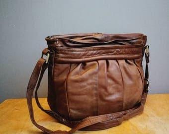 Large brown leather purse / worn in vintage leather bag / slouchy boho leather handbag / large shouder purse / boho slouch purse /