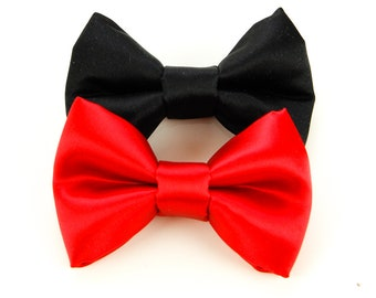 Satin Bow Tie for Dog, Dog Bow Tie, Red, Black or Any Color, Wedding Collar Accessory, Pet Bow Tie by Focus for a Cause