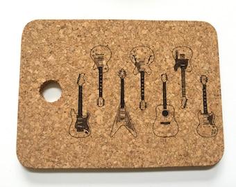 Guitar Design Laser Engraved Cork Trivet