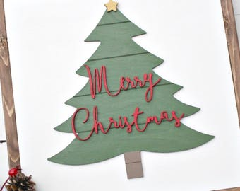 DIY Shiplap tree with Merry Christmas