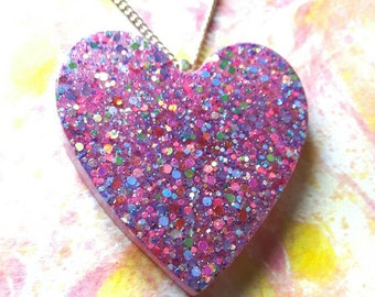 Glitter Heart Necklace, Resin Pendant, Glitter Jewellery, Heart Shaped Pendant, Multicoloured Necklace, Resin Jewellery, Gift for Her.