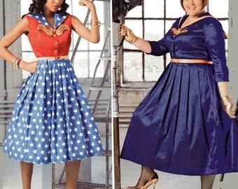 ROCKABILLY/BATWOMAN/WONDER Woman Costumes Simplicity Pattern 8481 Women's Sizes 20W 22W 24W 26W 28W