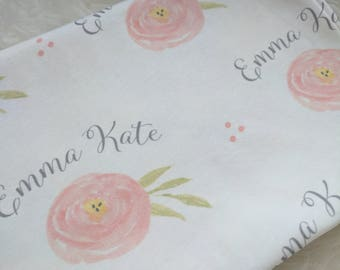Personalized floral rose swaddle blanket: baby and toddler personalized name newborn hospital gift baby shower gift