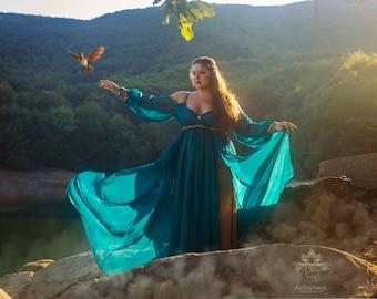 Fantasy costume fairytale oriental princess dress fairy gown cosplay wicca druid priestess handfasting off shoulder romantic dress