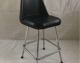 Vintage Comfort Line Comfortline Black Plastic Metal Stool