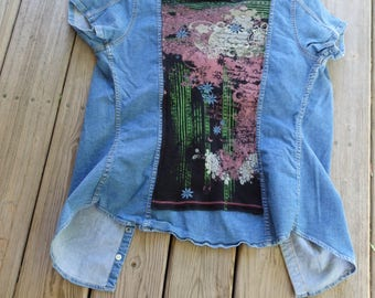 Women's Denim Tops, Altered Jeans tops, Jean Shirts, Jean Jackets, Denim Jackets, Women's Jackets, Embellished Jackets, Refashioned Jeans