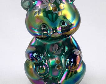 Fenton Bear Green Carnival Hand Painted 1998