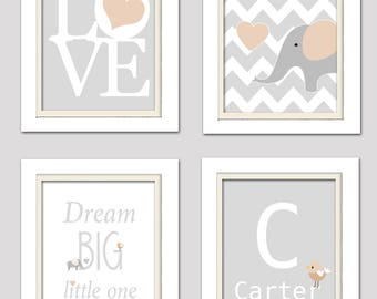 Beige and gray nursery, Elephant nursery art, Elephant nursery prints, Baby boy nursery art