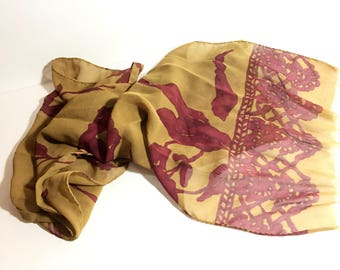 "Italian Silk Crepe Scarf, Vintage Dijon Gold & Purple/Red, Long Oblong, Hand-Stitched Sides, Raw Edge Ends, 66"" x 13"", Large Silk Scarf"