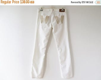 CIJ SALE White Women Pants White Cotton Pants Summer Trousers Golden Embroidery White Jeans Pants Women White Pants Large Size Pants