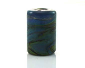 Deep Silver Blue and Pewter Handmade Lampwork Bead