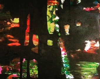 """The Jungle - Original Abstract Oil Painting 20"""" x 16"""""""