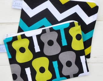 Eco Friendly Reusable Snack Bag - Choose Your Print - Groovy Black/Green/Turquoise Chevron, Guitar