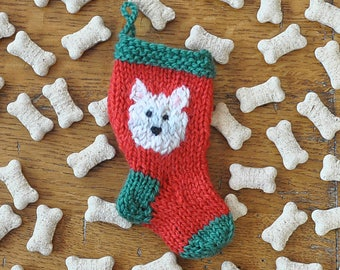 West Highland Terrier   Scottie  Hand-Knit Christmas Stocking Ornament
