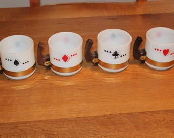 Vintage Siesta Ware Suit of Cards Theme Hearts, Spades, Clubs and Diamonds Milk Glass With Wooden Handle Mugs