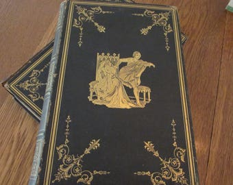 Vintage Books - Volume 2 and 3 of Shakespeare Comedies and Tragedies - Black with Gold accents. Library Decor - c/1847 Tome Novel Poetry